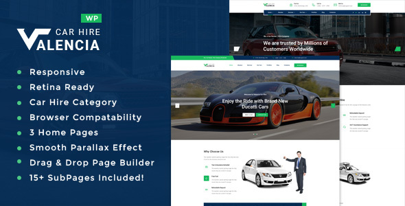 Valencia - Car Hire WordPress Theme - Business Corporate
