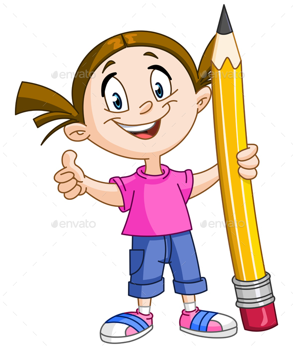 Girl Holding Pencil - People Characters
