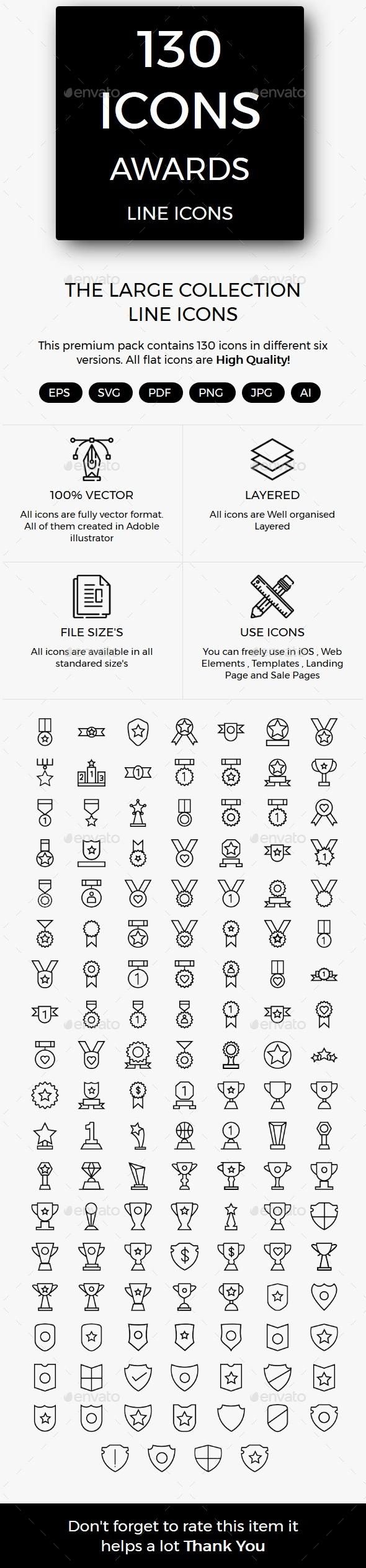 Awards line icons - Web Icons