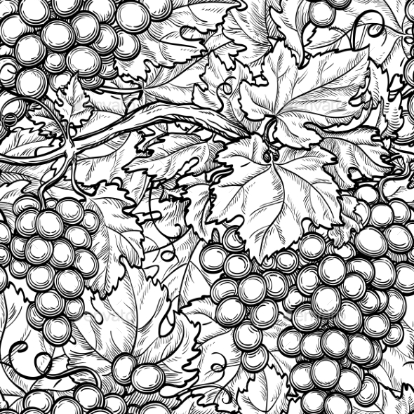 Seamless Pattern with Grapes - Patterns Decorative