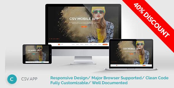 CSVAPP - Responsive Mobile App Landing Page - HTML Template - Creative Site Templates
