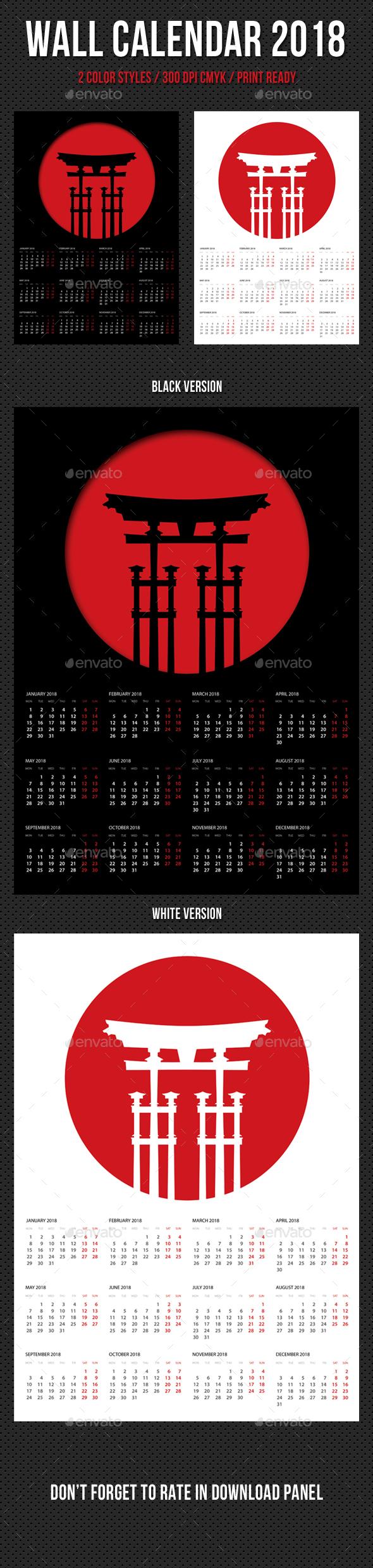 Wall Calendar A3 2018 V11 - Calendars Stationery