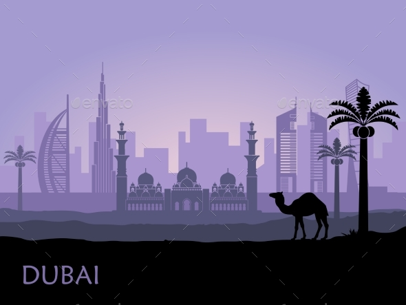 Skyline of Dubai with Camel and Date Palm - Buildings Objects