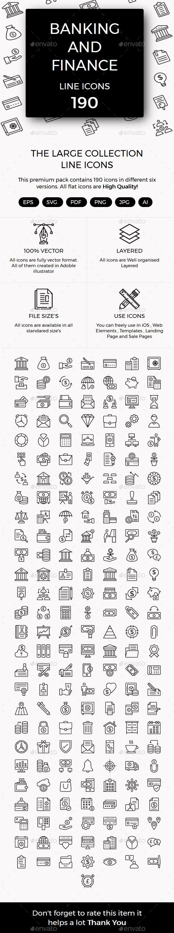 Banking and Finance line icons - Business Icons