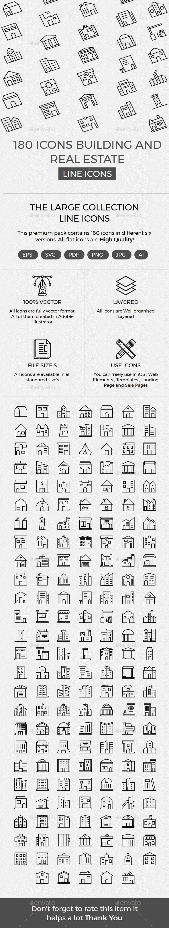 Building and Real Estate line icons - Buildings Objects
