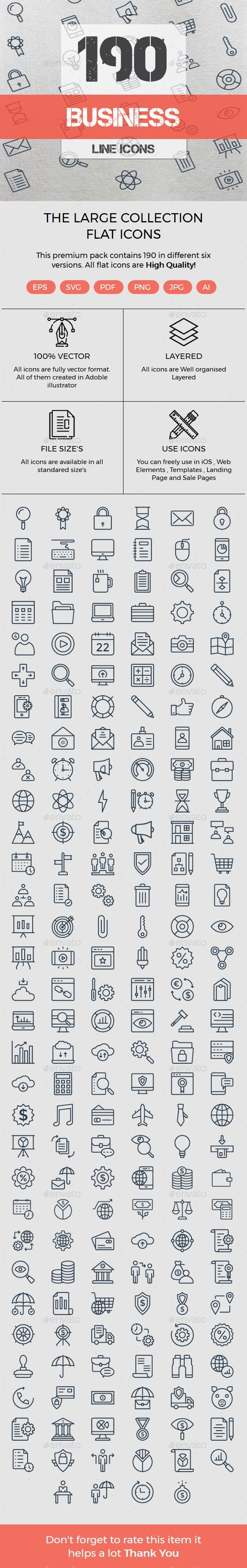 190 Business Line icons - Business Icons
