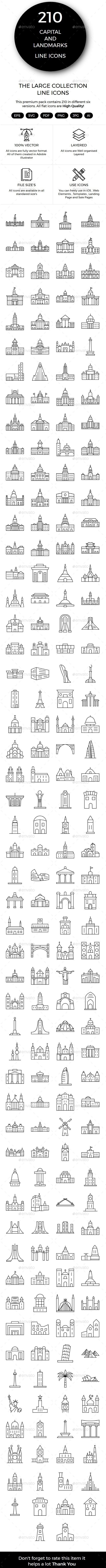 210 Capital & World Landmarks - Icons