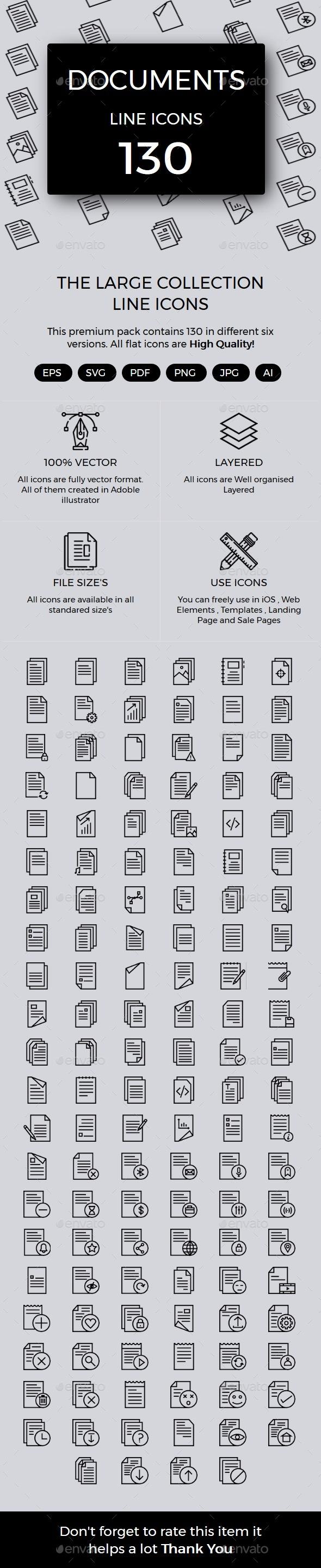 Documents line icons - Icons