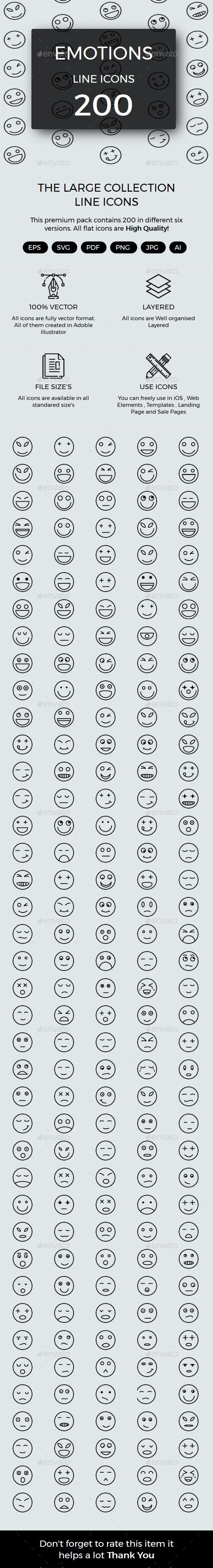 200 Emotions line icons - Web Icons
