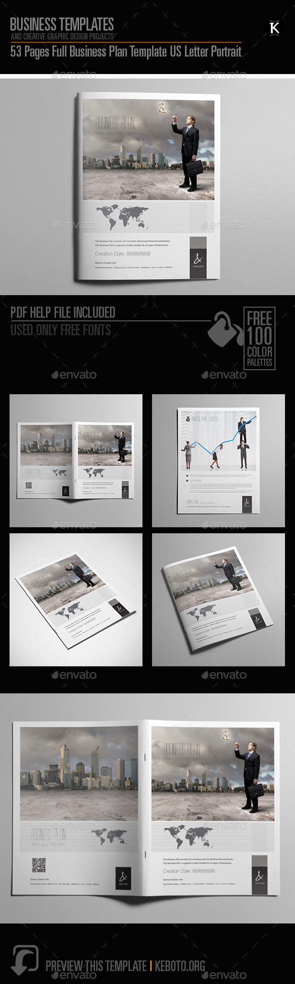 Business plan template pages graphics designs templates