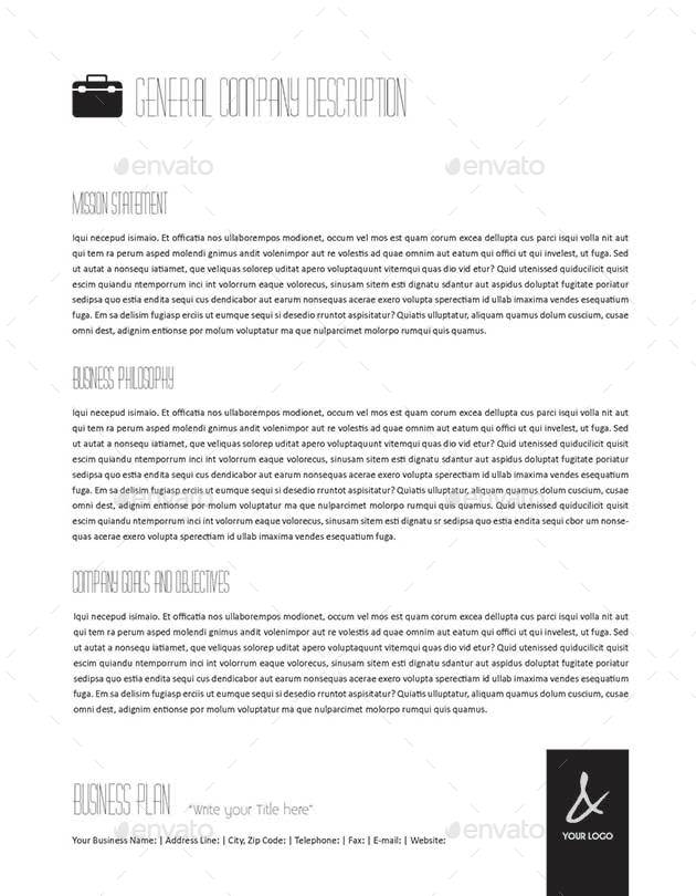 Pages Full Business Plan Template US Letter By Keboto - Business plan template for pages