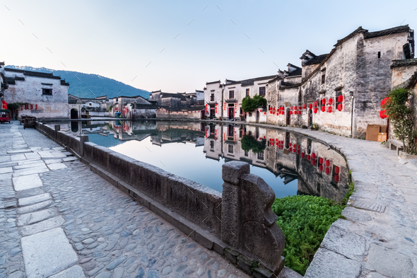 chinese ancient villages in early morning - Stock Photo - Images