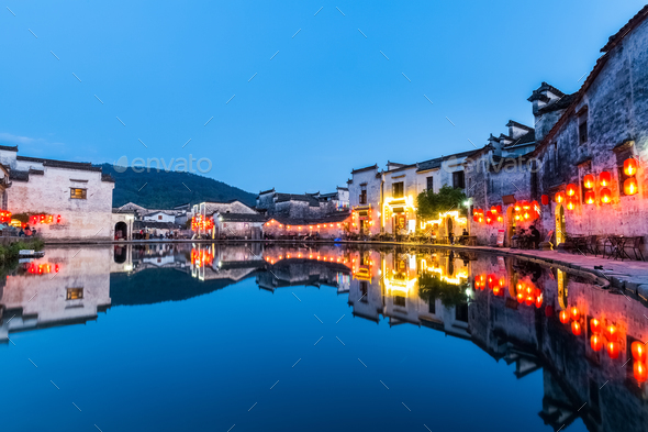chinese ancient villages at night - Stock Photo - Images