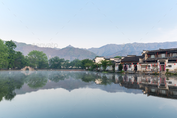 a village in the chinese paintings - Stock Photo - Images