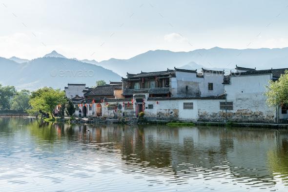 china ancient villages landscape - Stock Photo - Images