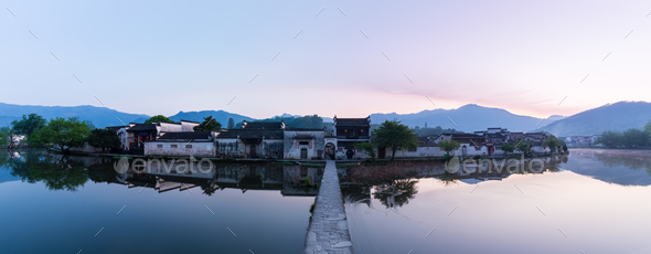 chinese ancient villages in dawn - Stock Photo - Images