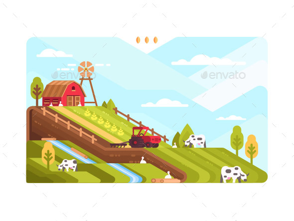 Agricultural Farm with Fields and Livestock - Industries Business