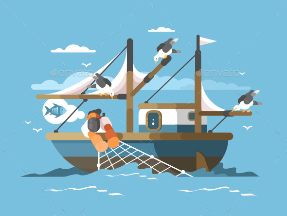 Fisherman Pulls Fishing Net - Sports/Activity Conceptual