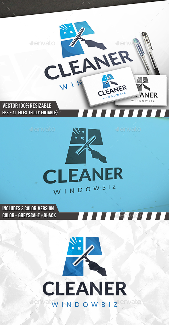 Windows Cleaner Logo - Vector Abstract