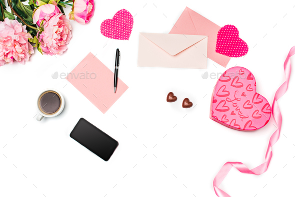 The gift box with hearts on white background - Stock Photo - Images