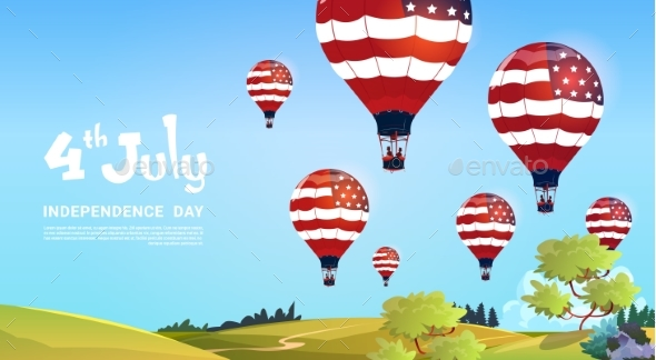 United States Flag Colored Air Balloons Flying - Miscellaneous Seasons/Holidays