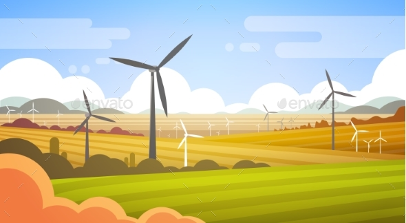 Wind Turbine Tower in Field with Blue Sky - Industries Business