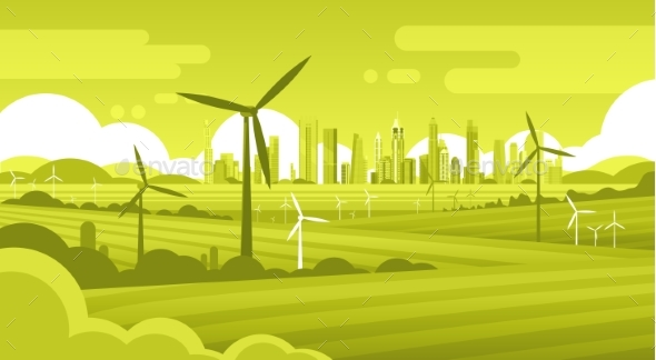Wind Turbine Tower in Field with Green City Background - Landscapes Nature