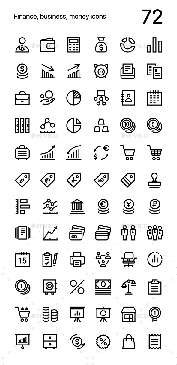 Finance, Business, Money Icons Pack for Web and Mobile Apps - Business Icons