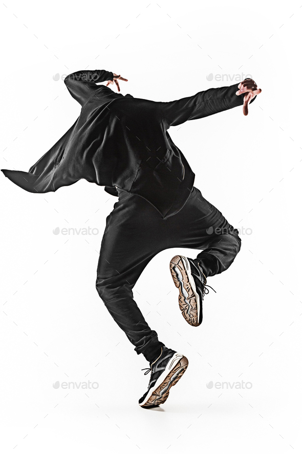 The silhouette of one hip hop male break dancer dancing on white background - Stock Photo - Images