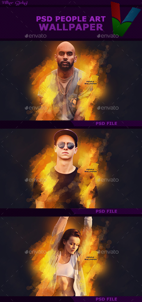 PSD - People ART Wallpaper - Photo Templates Graphics