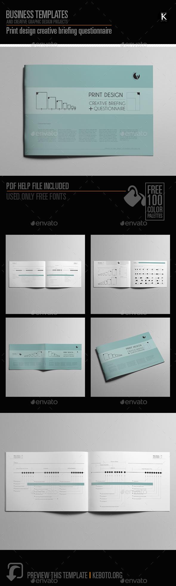 Print design creative briefing questionnaire - Miscellaneous Print Templates