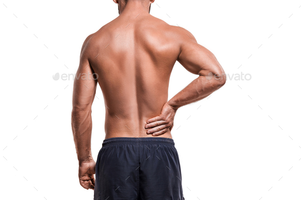 Man with pain in shoulder - Stock Photo - Images