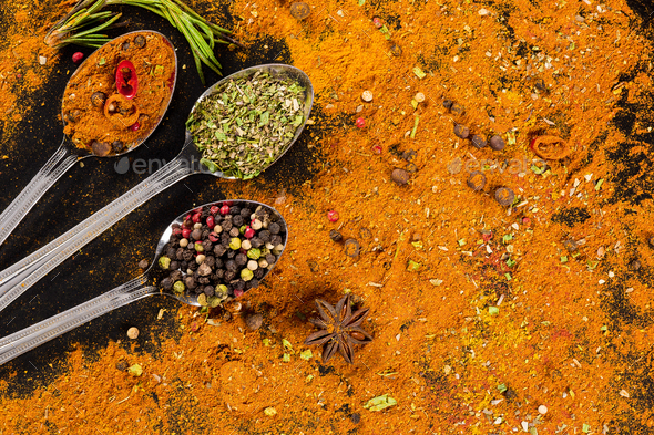 Herbs and spices selection - cooking, healthy eating - Stock Photo - Images