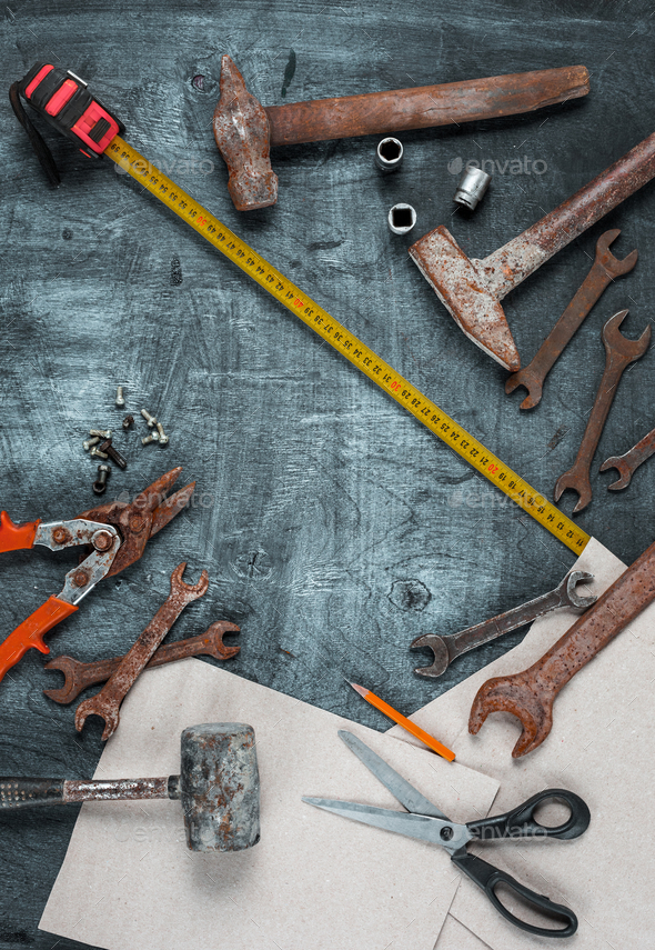 The set of construction tools on wooden table - Stock Photo - Images
