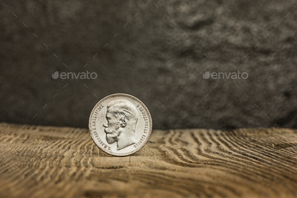 Closeup Of Old Russian Coin On A Wooden Background Stock Photo Images