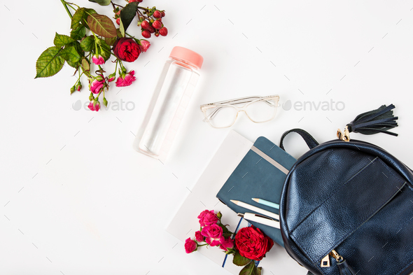 Top view of female property in bag. - Stock Photo - Images