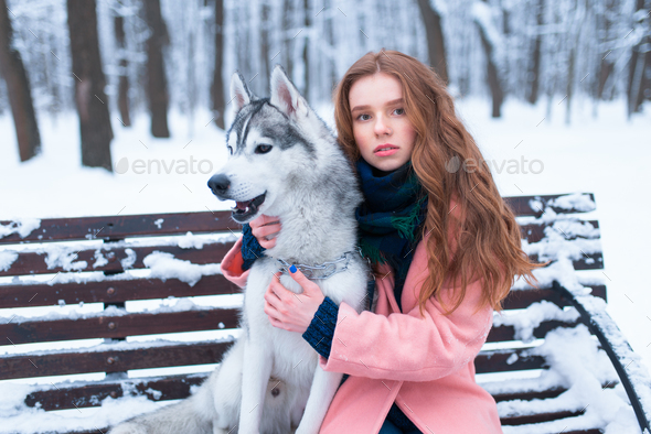 Woman sitting on the bench with siberian husky - Stock Photo - Images