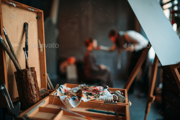 Sketch drawer with drawing tools closeup view - Stock Photo - Images