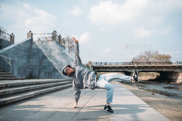 Dance performer, hip hop dancing  on the street - Stock Photo - Images