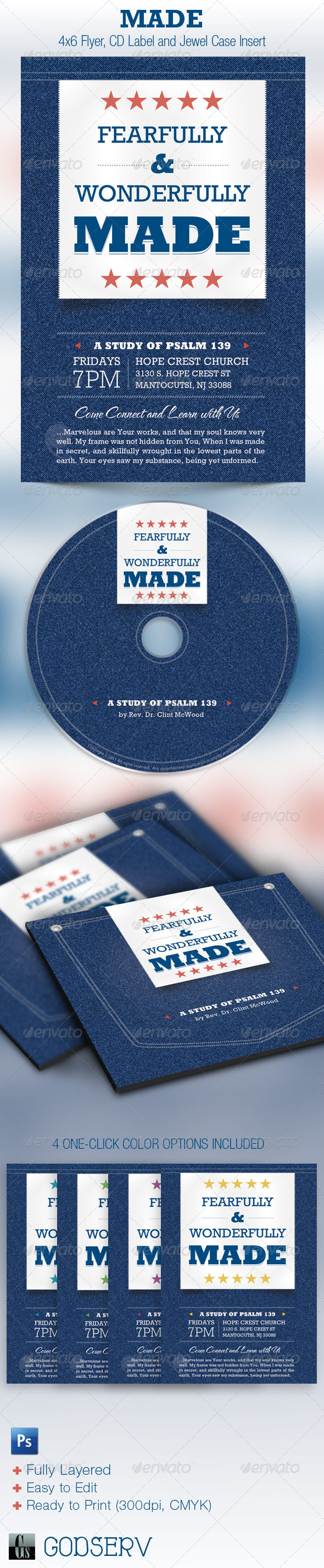 Wonderfully Made Church Flyer CD Template - Church Flyers
