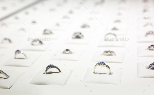 Gemstone decorated rings collection, Ceylon jewels - Stock Photo - Images