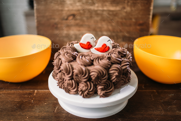 Homemade chocolate cake with cookies in glaze - Stock Photo - Images