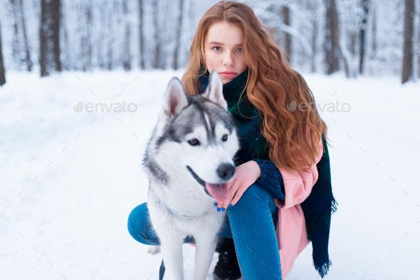 Female master on dog training with siberian husky - Stock Photo - Images