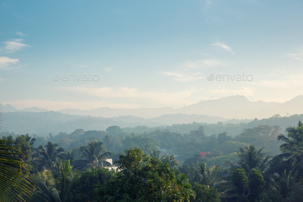 Scenic green mountains anb jungles, Ceylon - Stock Photo - Images