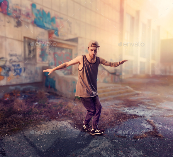 Rapper dance on the street, trendy lifestyle - Stock Photo - Images
