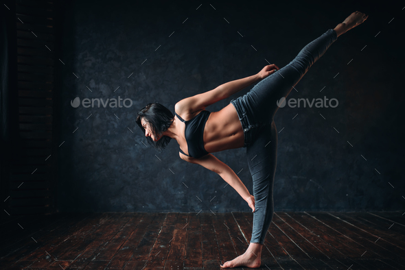 Body flexibility, contemp dancing in dance class - Stock Photo - Images