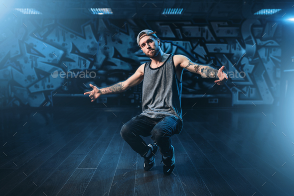 Male rapper in dance studio, trendy lifestyle - Stock Photo - Images
