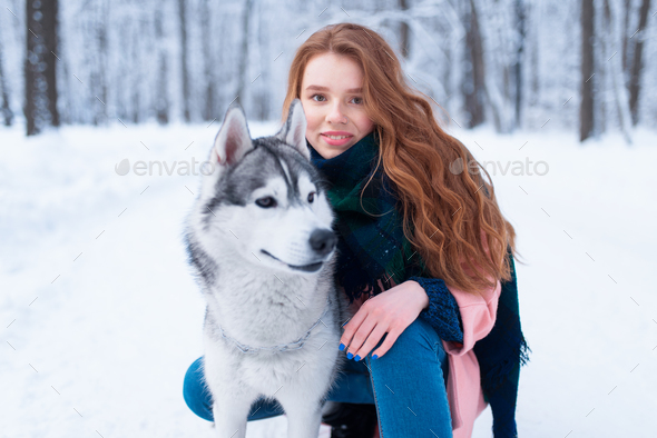Female master on dog training with siberian husky - Stock Photo - Images