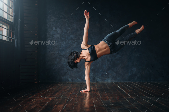 Contemp active dancing in dance class - Stock Photo - Images