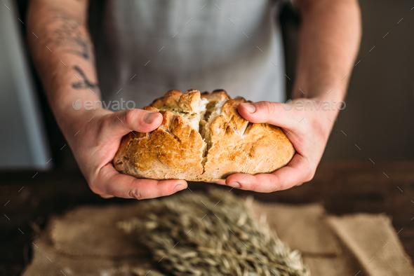 Baker hands breaks in half fresh baked bread loaf - Stock Photo - Images